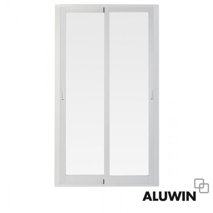 Puerta corredera sin persiana ventanas blancas for Puerta y media de aluminio