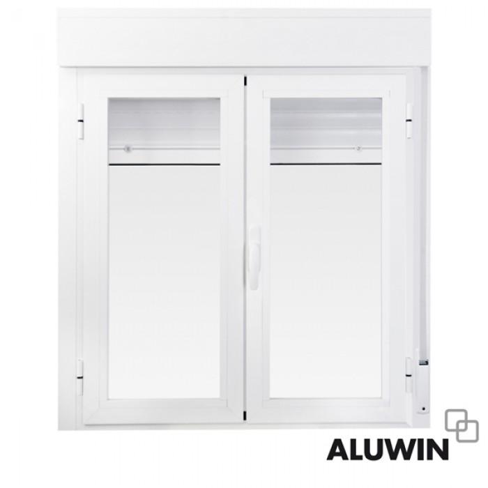 Ventana abatible dos hojas con persiana ventanas for Ventanas de aluminio oscilobatientes