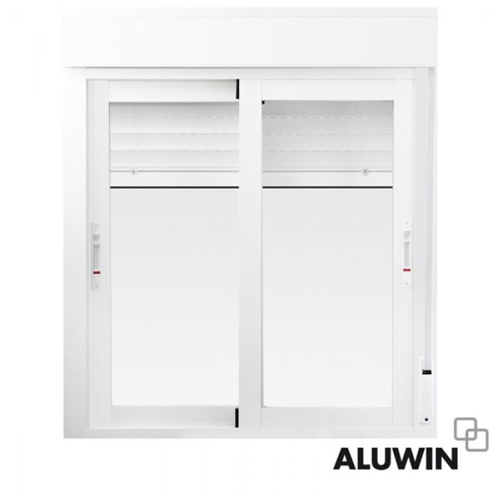Ventana corredera con persiana ventanas imitaci n madera for Ventanas de aluminio con persianas precios