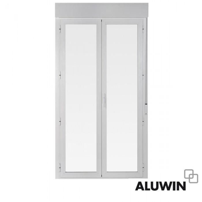 Puerta abatible dos hojas con persiana doble - Puertas de aluminio doble hoja ...