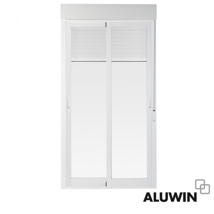 Puerta corredera con persiana puertas de aluminio for Correderas de aluminio