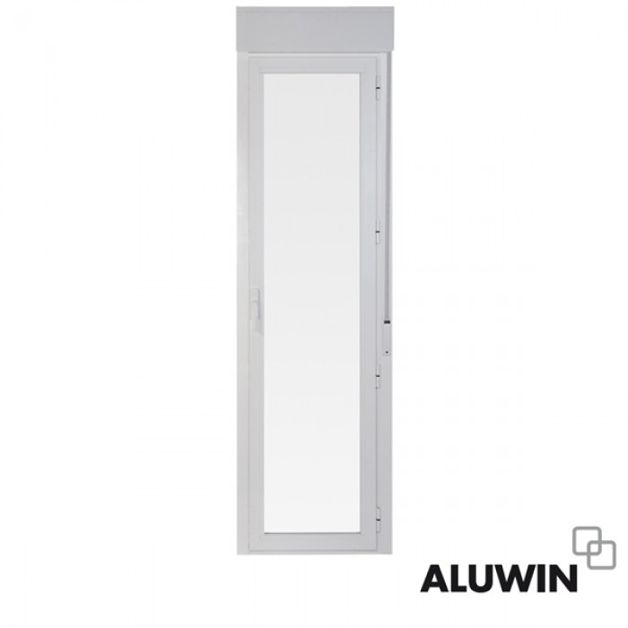 Puerta abatible una hoja con persiana doble - Puertas de aluminio doble hoja ...