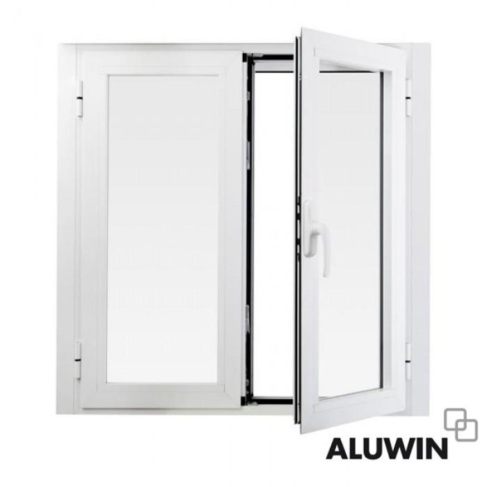 Ventana abatible dos hojas sin persiana rotura puente - Puertas de aluminio doble hoja ...