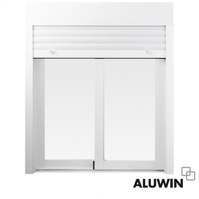 Ventana corredera con persiana ventanas imitaci n madera for Colores ventanas aluminio imitacion madera
