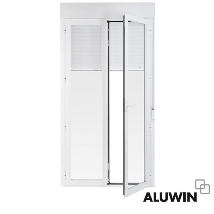 puerta abatible dos hojas con persiana doble