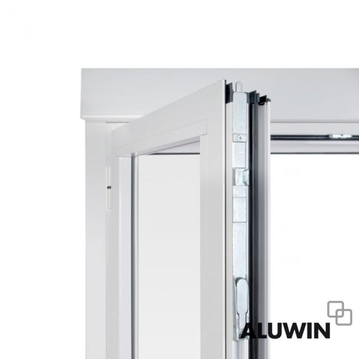 Puerta abatible dos hojas con persiana ventanas y - Puertas de aluminio doble hoja ...